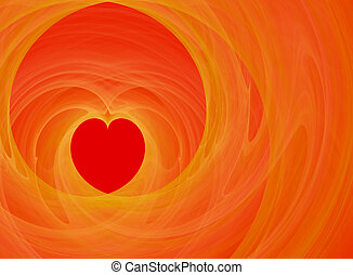 Fractal valentine heart design; red heart and orange...