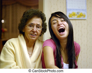 Grandma and Grandkid - Grandmother and granddaughter enjoy...