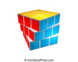 Cube puzzle solved - Rubic cube puzzle, solved and rotated...