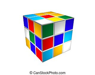 Cube puzzle unsolved - Rubic cube puzzle unsolved, isolated...