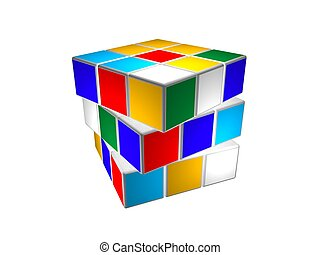 Cube puzzle rotated - Rubik cube puzzle unsolved and...