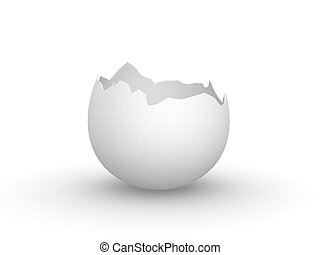 Eggshell empty - Broken empty eggshell, standalone, isolated...
