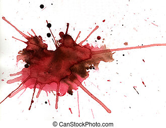 Red color explosion - Red aquarelle splash