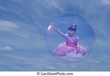 Bubble Princess 2 - Cute toddler girl dressed as princess,...