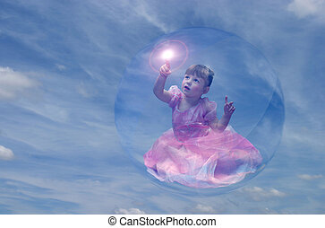 Bubble Princess 4 - Pretty toddler girl dressed as princess...