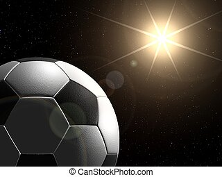 Planet football - Soccer ball in space like planet, with...