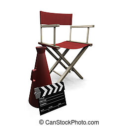 Movie items - 3D render of movie items isolated on white...