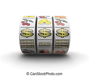 Jackpot - 3D render of fruit machine reels showing jackpot...