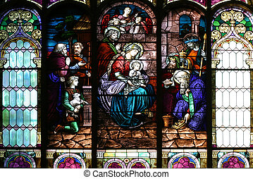 Stained Glass Church Window - Epiphany scene on a church...