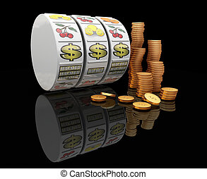 Jackpot - 3D render of fruit machine reels with stack of...