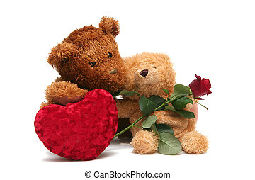 Sweet Valentine - Teddy bear with red roses on a white...