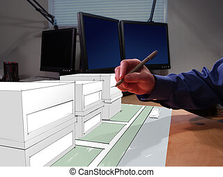 3D Drafting - An architect drawing in 3D on his desk