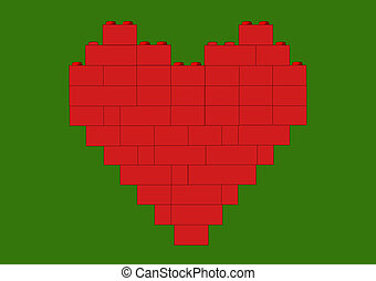Red heart on green - Red heart made of blocks, version with...