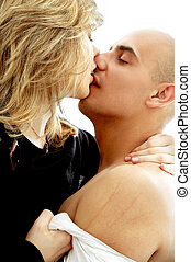 solicitation - picture of couple foreplay over white...