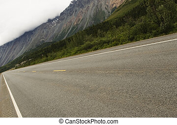 Road to mountains - Road towards Rainbow ridge, Alaska Range
