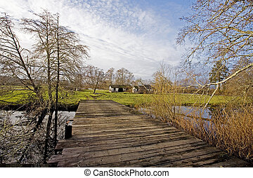 Rickety Wooden Bridge, Brownsmead - Rickety Wooden Bridge in...