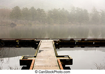 Lake, Dock, and Fog - Dock at Lake Lytle, just north of...