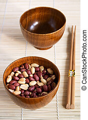 Two wooden noggins and chopsticks - Two wooden noggins: with...