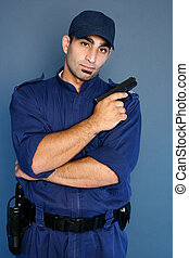 Security officer standing in uniform - Security staff in...