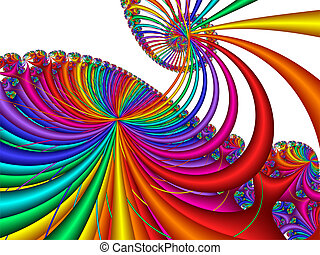 Carnival Ride - 3d multi-colored abstract design on white...