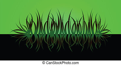 grass reflect green - A abtsract look a a river bank that...