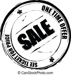 sale - A black and white rubber stamp to be used as a...