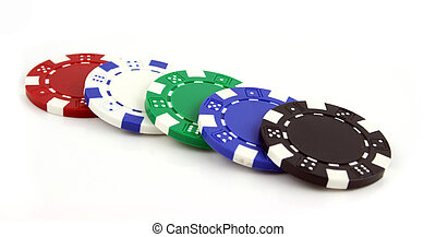 Poker Chips on an isolated background - 5 Poker chips on an...