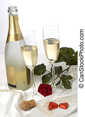 valentine - bottle of champagne with two glasses, rose and...