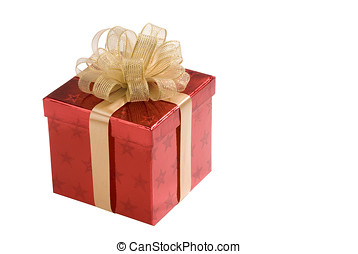 red present - shiny red box with stars, gold ribbon and bow...