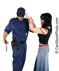 Officer disarms a weapon from a suspected criminal - Officer...