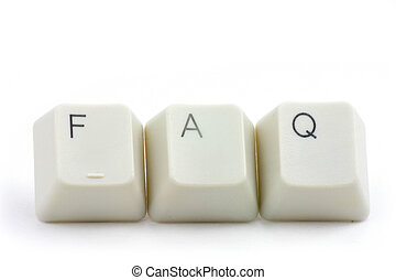 FAQ - letter keys close up, concept of FAQ