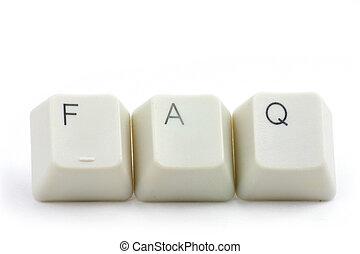 FAQ - letter keys close up, concept of FAQ