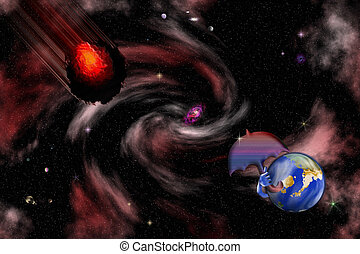 Stock image of Humorous Space Asteroid Scene - Protected...