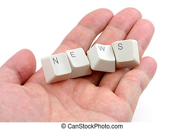 concept of online news media - letter keys close up, concept...