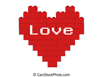 Red heart Love - Red heart made of blocks, version with...