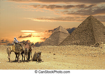 People ath the Great Pyramids - Tourists on Camel near the...