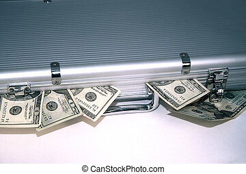 Money Case - Sliver briefcase with money spilling out