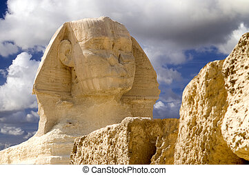 Guarding Cheops - The Sphinx guarding the Pyramid of Cheops...