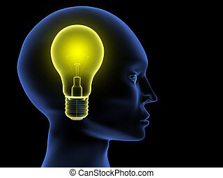Idea - Head on black background. Conceptual image showing...
