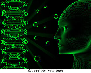 DNA - Double helix of DNA and abstract human head.