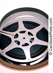 16mm Film Reel - 16mm movie film reel in canister on a white...