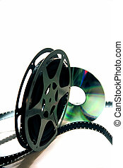 Video Transfer 2 - 16mm movie reel and a dvd on a white...