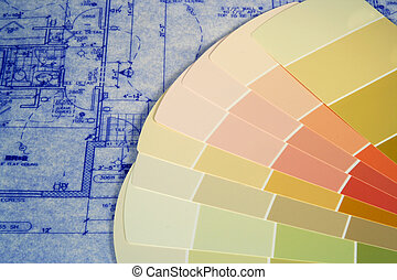 Blueprints and Paint - Paint swatches layed out on...