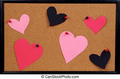 memo boar - A memo board with valentine paper hearts