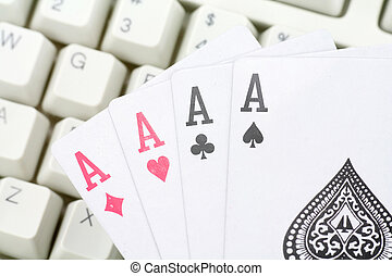 online card games - computer keys and cards, concept of...