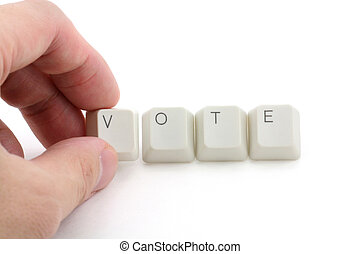concept of online vote - letter keys close up, concept of...