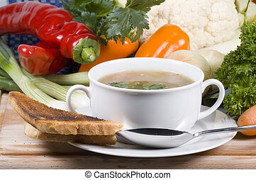 homemade soup - bowl of homemade vegetable soup
