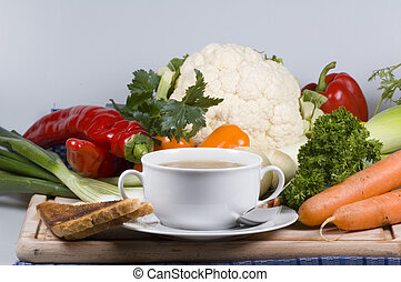 soup and toast - fresh soup and toast and vegetables