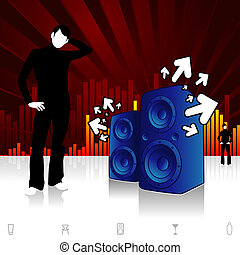 Street Vibes - Modern design illustration with speakers...