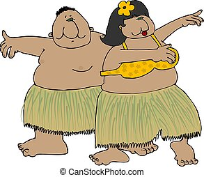 Hula dancers - This illustration depicts two chubby hula...